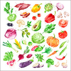 Gallery print  Fruits and vegetables watercolor