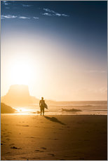 Wall sticker Silhouette of a surfer on the beach