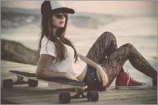 Gallery Print  Beautiful young woman posing with a skateboard