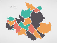 Wall sticker Dresden city map modern abstract with round shapes