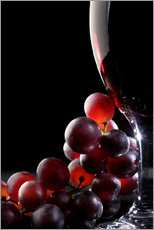 Wall sticker  Red grapes and glass of wine - Johan Swanepoel