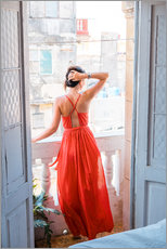 Wall sticker  Young attractive woman in red dress