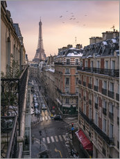 Wall sticker Street in Paris with Eiffel tower at sunset
