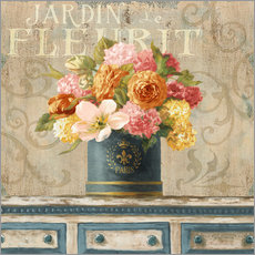Gallery print  Tulips in Teal and Gold Hatbox - Danhui Nai