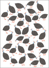 Wall sticker  Happy guinea hens - Nic Squirrell