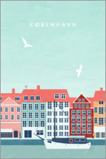 Wood print  Copenhagen Illustration - Katinka Reinke