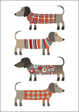 Wall sticker  Sausage Dogs in Sweaters - Nic Squirrell