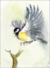Wall sticker  Flying yellow bird - Verbrugge Watercolor