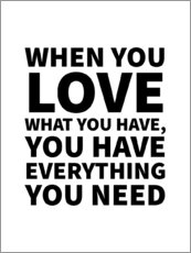 Wall Stickers  When You Love What You Have, You Have Everything You Need - Creative Angel