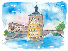 Gallery print  Bridge In Bamberg Bavaria with City Hall - M. Bleichner