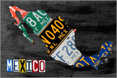 Wall sticker  License Plate Map of Mexico - Design Turnpike