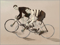Wall sticker twin cyclists