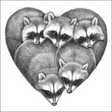 Wall sticker  Heart from raccoons - Nikita Korenkov