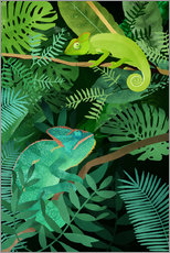 Wall sticker  Chameleons in the Foliage - Goed Blauw