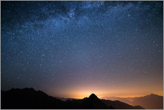 Wall sticker  Starry sky and the majestic high mountain range of the Alps, - Fabio Lamanna