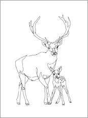 Gallery print  Bambi & Stag - Sophie Schultz