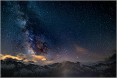 Wall Stickers  The Milky Way galaxy glowing over snowcapped mountains in the Alps - Fabio Lamanna