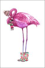 Gallery print  Pink flamingo with rubber boots - Kidz Collection