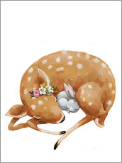 Wall sticker Fawn and baby bunny