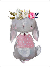Wall sticker  Summer bunny with flowers in her hair - Kidz Collection