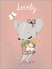 Wall sticker Little mouse on pink
