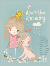 Aluminium print  Never stop dreaming - Kidz Collection