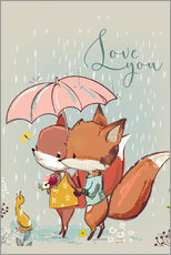 Wall sticker Fox love