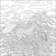 Colouring poster Horse in a wheat field
