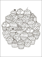 Colouring posters  Delicious cupcakes