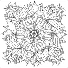 Colouring poster Leaves Mandala