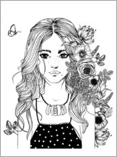 Colouring poster Flower girl