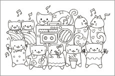 Colouring posters  Cats Karaoke