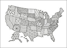 Colouring poster USA patterned