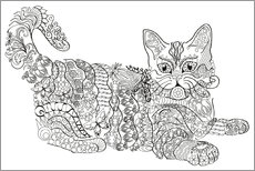 Colouring posters Zendoodle cat