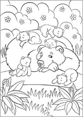 Colouring posters  Happy bear mother
