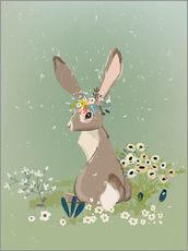 Gallery Print  Rabbit with wildflowers - Kidz Collection