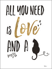 Gallery print  All you need is love and a cat - Veronique Charron