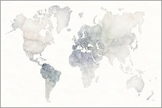 Gallery print  World map watercolor - Laura Marshall