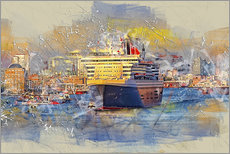 Wall sticker  Hamburg Queen Mary II, in the background the Elbphilharmonie - Peter Roder