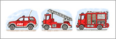 Wall sticker  Hugo's fire trucks - Hugos Illustrations
