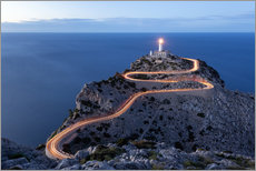 Gallery print  Light trail to the lighthouse at Cap Formentor, Mallorca - Michael Valjak