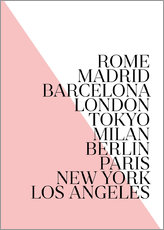 Wall Sticker  cities Pink PL - Mod Pop Deco