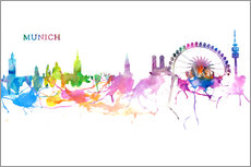 Wall sticker Skyline MUNICH Colorful Silhouette