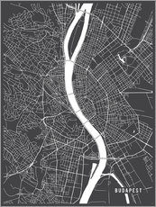 Gallery print  Budapest Hungary Map - Main Street Maps