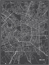 Gallery print  Milan Italy Map - Main Street Maps