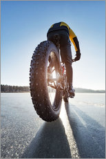 Wall sticker  Man cycling on a frozen lake - Johner
