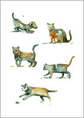 Gallery print  Cats and dog watercolor - dieKleinert