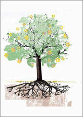 Gallery print  Blossoming tree with roots - Ikon Images