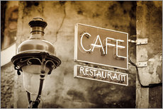 Gallery print  Cafe sign and lamp post, Paris, France. - age fotostock