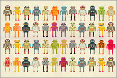 Wall sticker  Toy robots in a row - Ikon Images